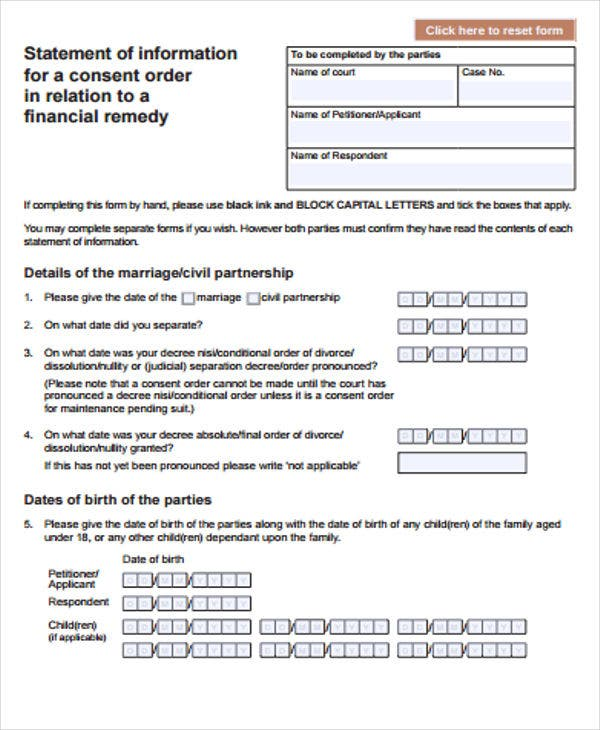 Consent Order Templates  Free Sample Example Format Download