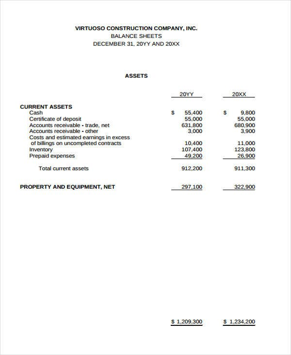14  balance sheet templates in pdf