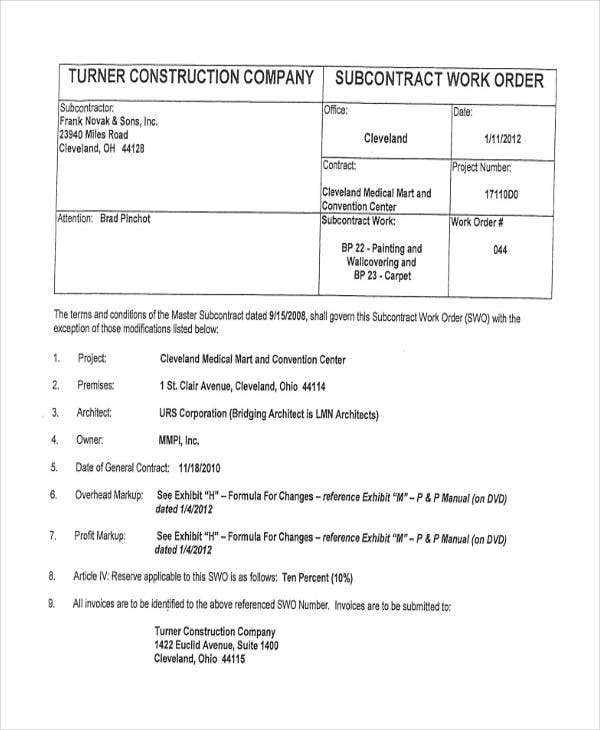 construction company work order