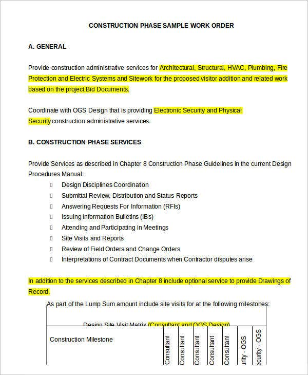 Construction Phase Work Order Sample