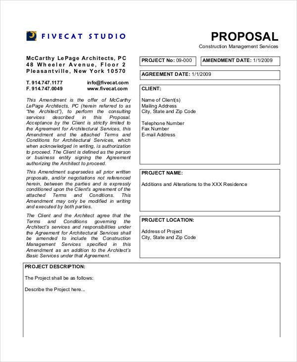 construction project management proposal