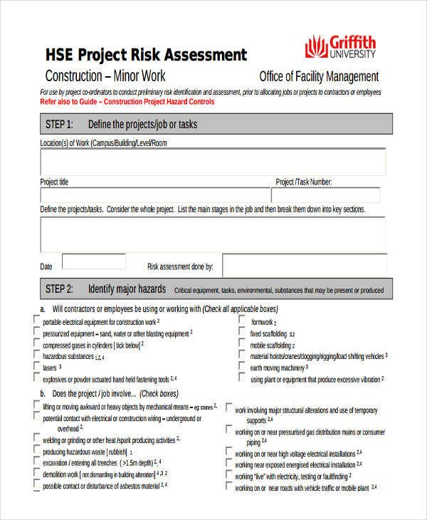 Risk Assessment Form Templates  Free  Premium Templates