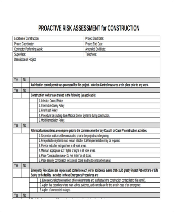 Project Risk Assessment. Environmental Risk Assessment (era): 19