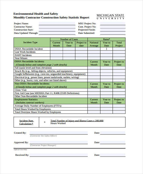environmental health and safety plan template - 36 monthly report samples free premium templates