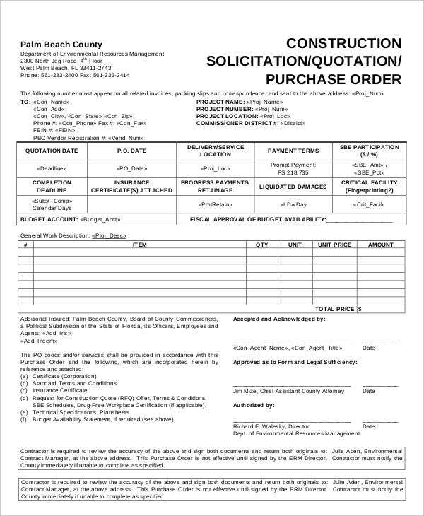 Construction Solicitation Quotation Purchase Order