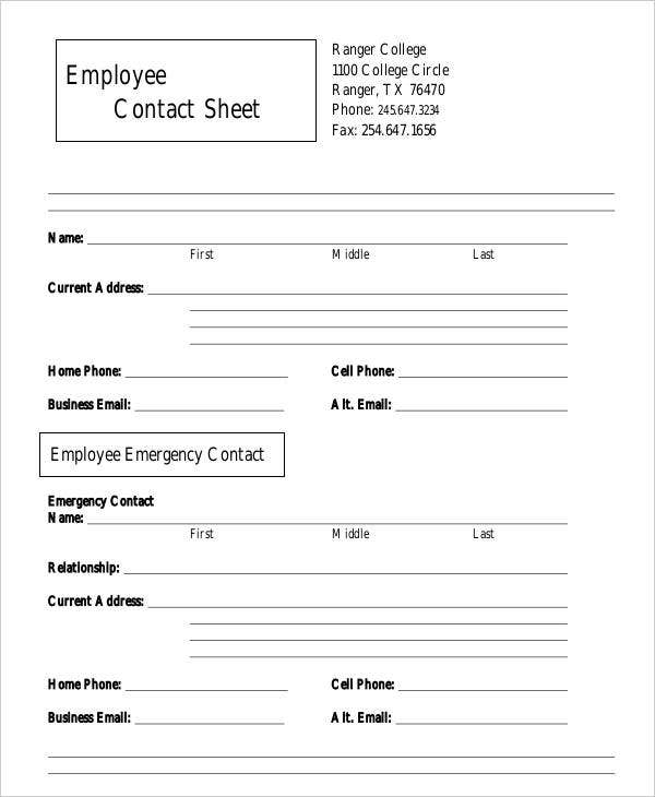 employee sheet templates