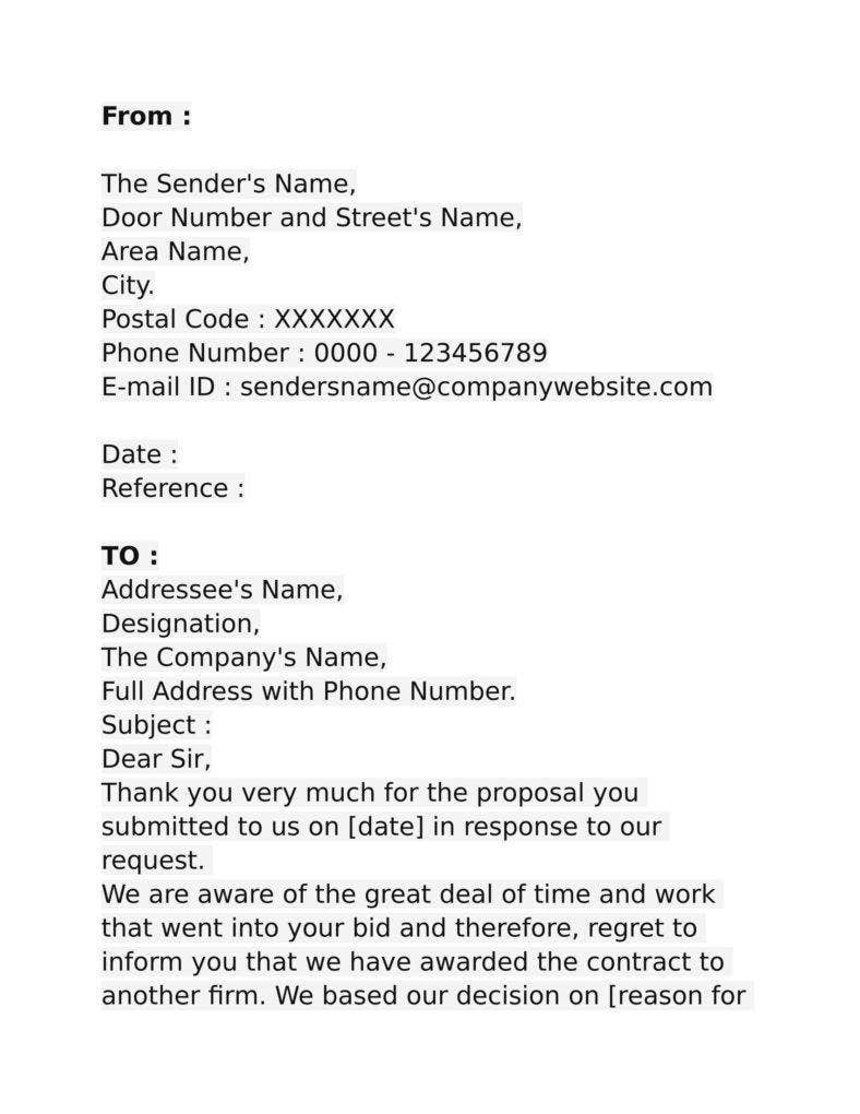 9 business proposal rejection letters free premium templates contractor bid rejection letter spiritdancerdesigns Images