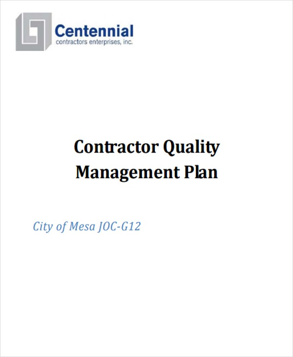 contractor quality management plan