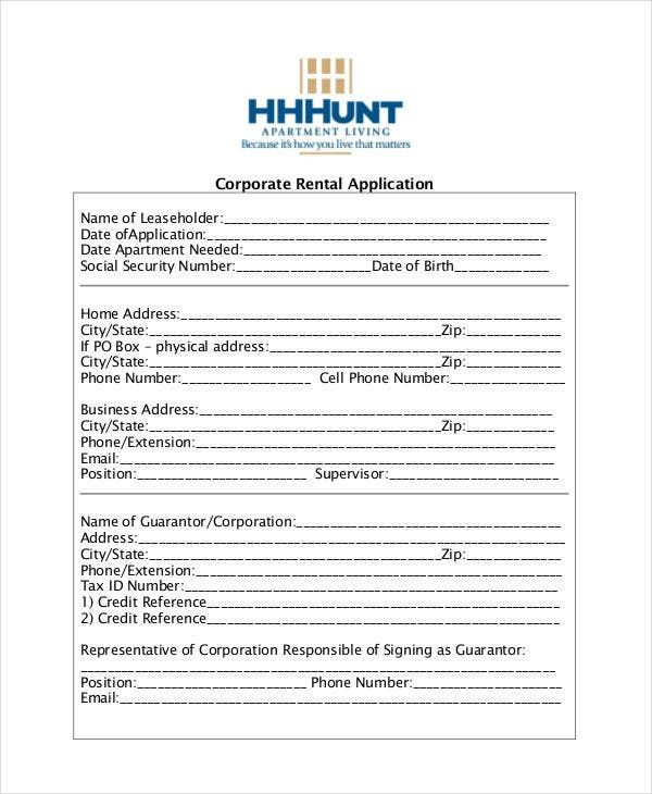 21  printable rental application templates