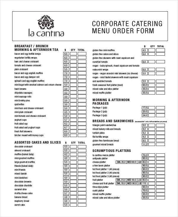 corporate catering order
