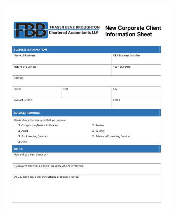 corporate client information sheet