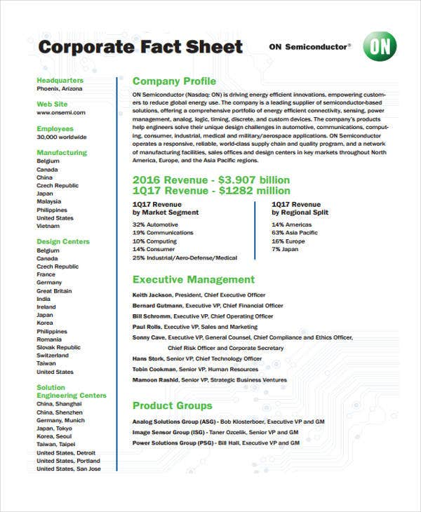 Fact Sheet Template Fact Sheet Templates Excel Pdf Formats