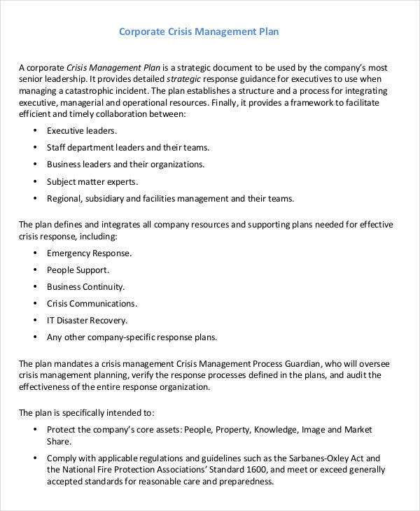 corporate crisis management plan