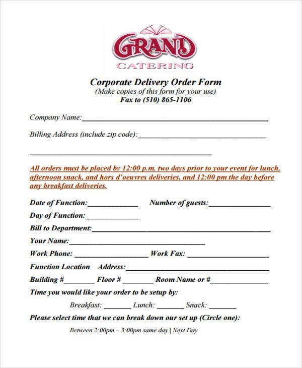 corporate delivery order