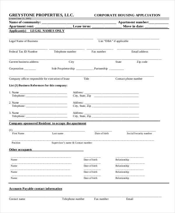 corporate housing rental application