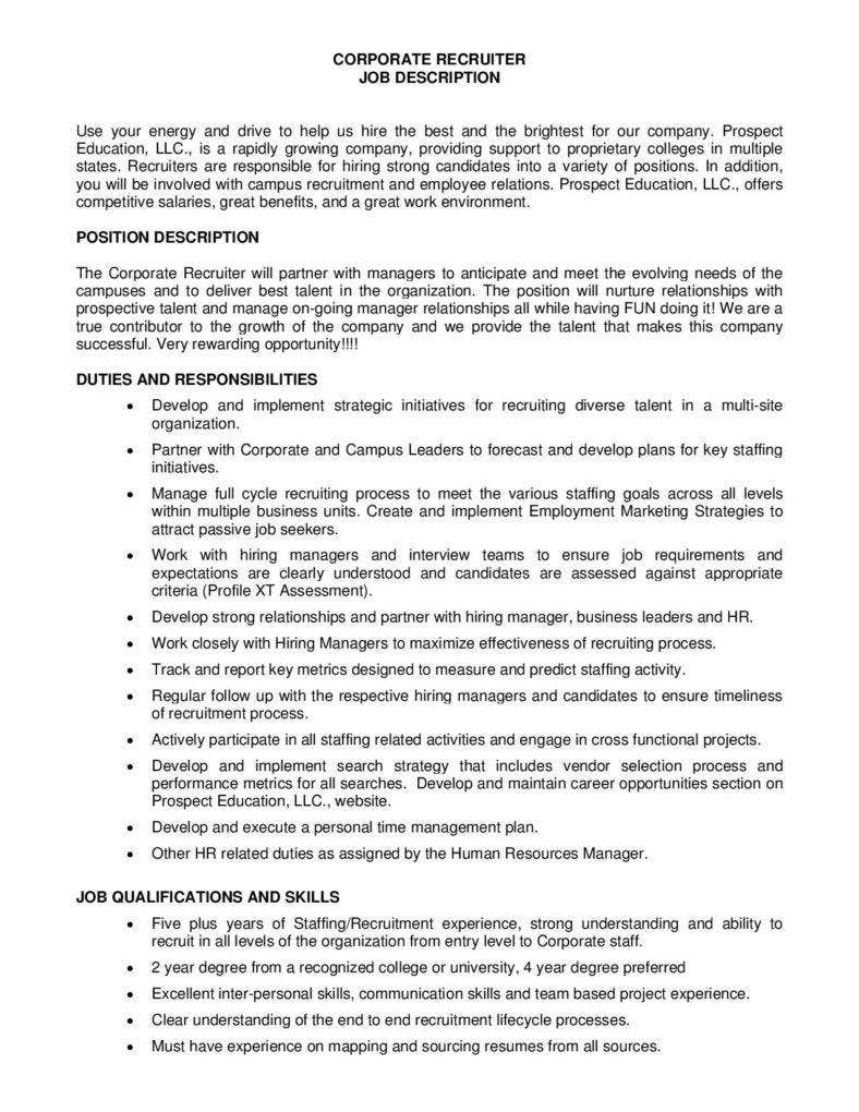 corporate recruiter job description free pdf template page 001 788x1020