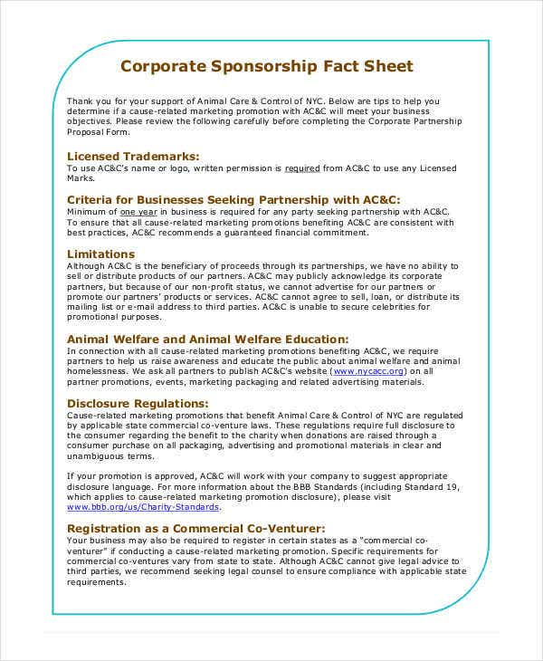 corporate sponsorship fact sheet