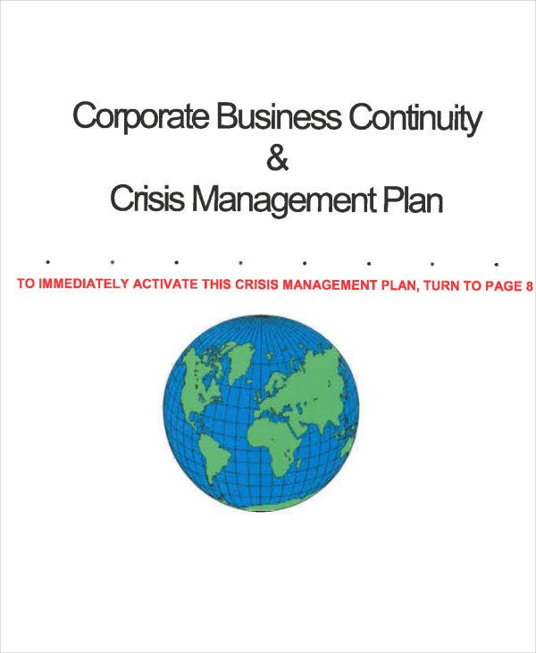crisis management plan business