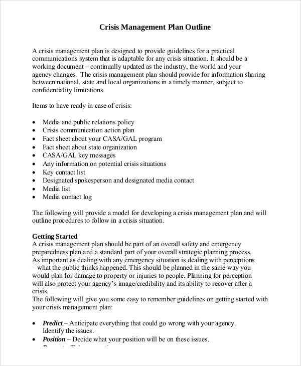 10 crisis management plan templates free sample example for Mental health crisis management plan template