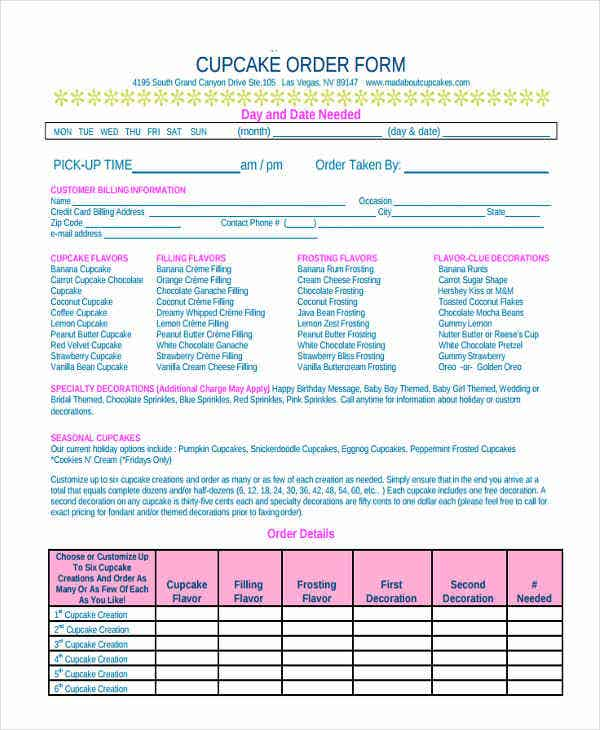 Cake Order Forms  Free Samples Examples Format Download