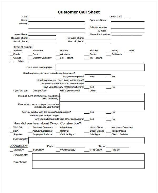 customer call sheet