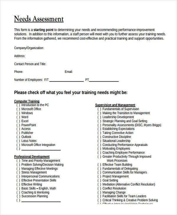 Needs Assessment Form Templates  Free  Premium Templates