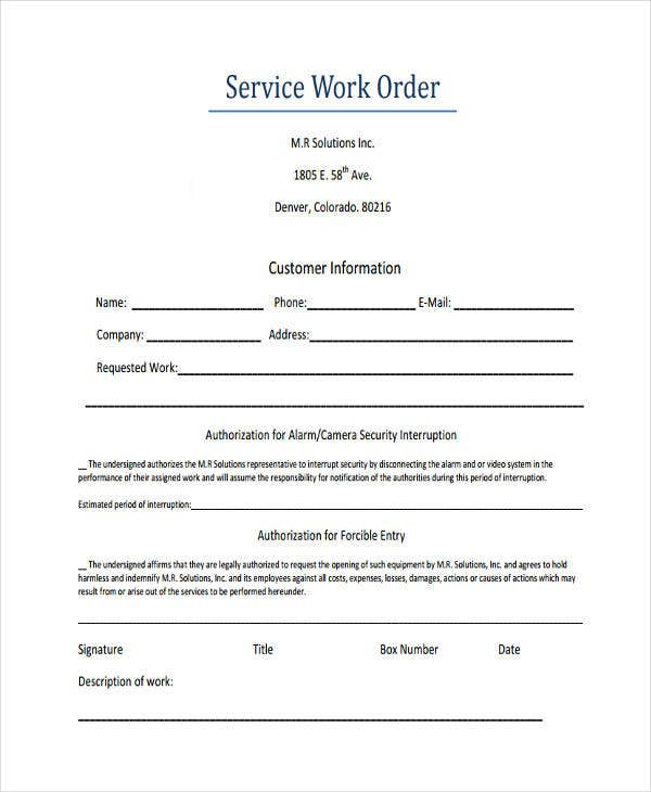customer service work order