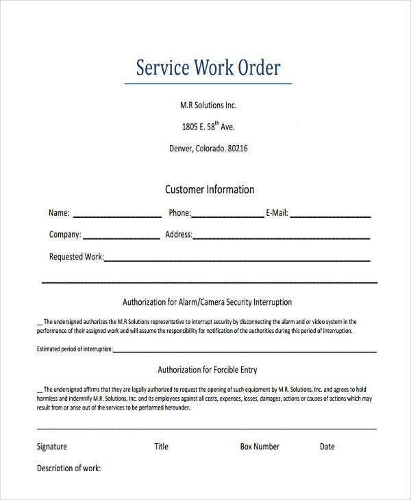 Sample service order template 19+ free word, excel pdf documents.