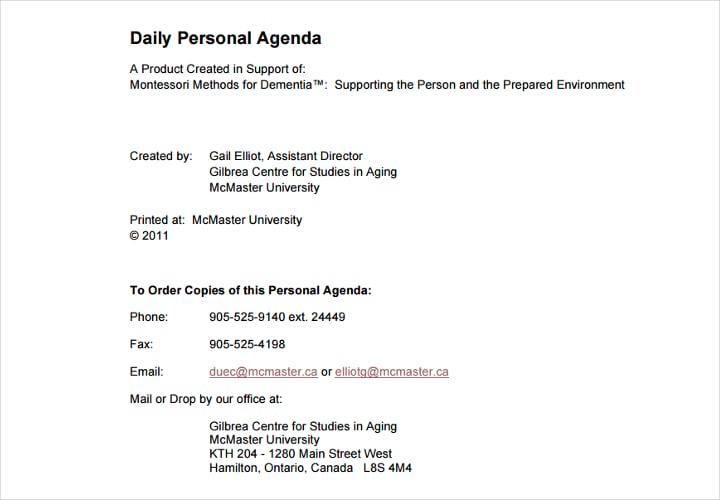 daily agenda example