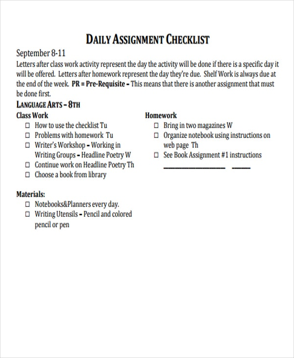 daily assignment checklist2