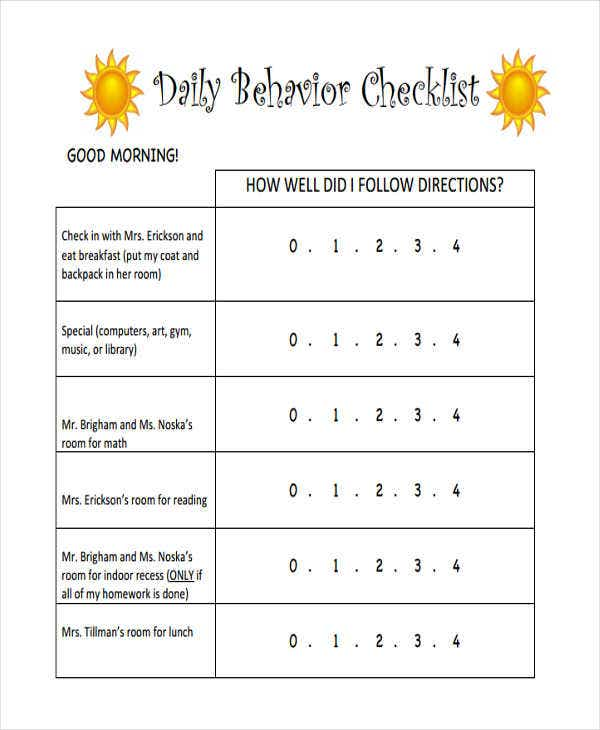daily behavior checklist