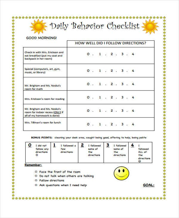 Behavior Checklist Templates  Free Samples Examples Format