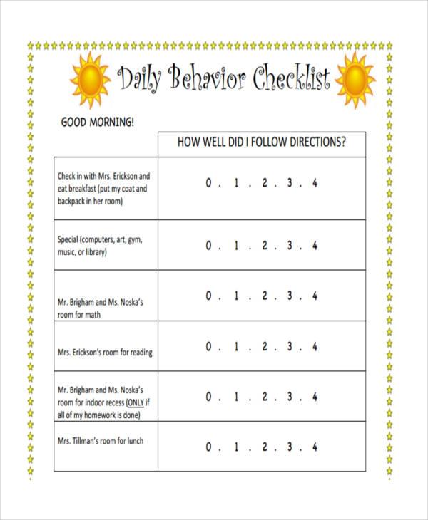daily behavior checklist2