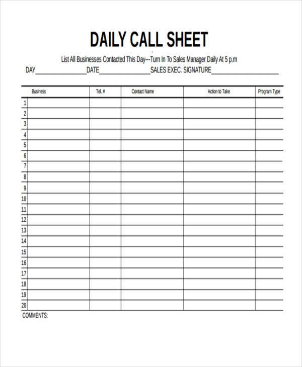 daily call sheet