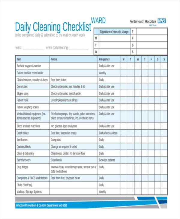 Weekly Checklist Samples