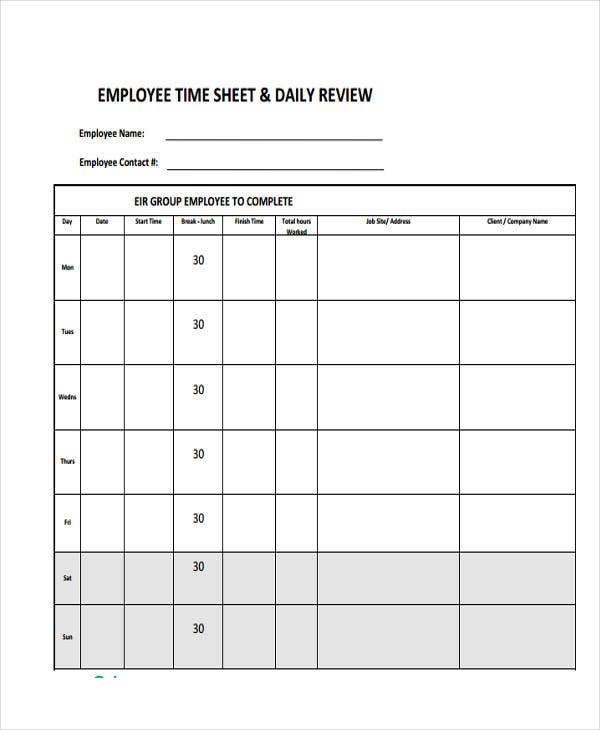 daily employee timesheet
