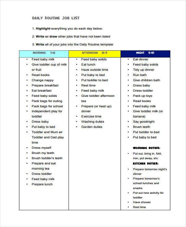 Job List Templates - 6+ Free Word, PDF Format Download
