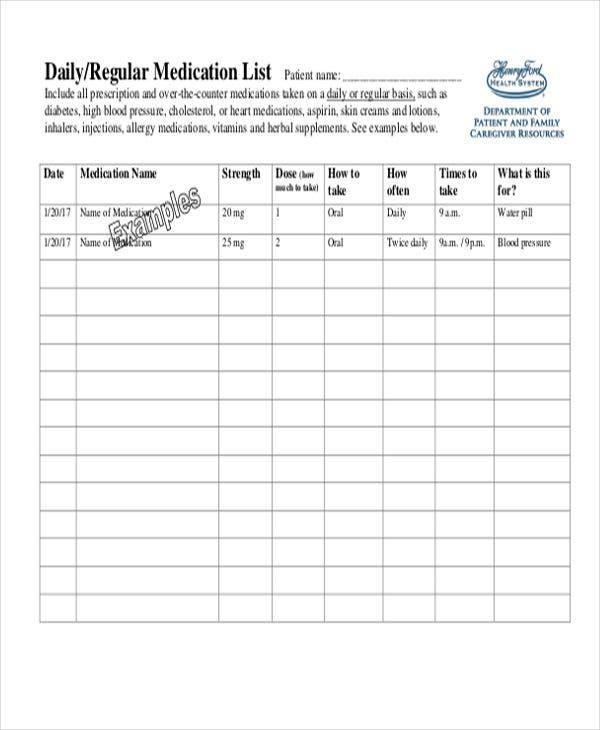 It is an image of Unforgettable Medication List Printable