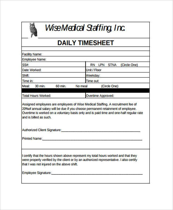 daily timesheet example