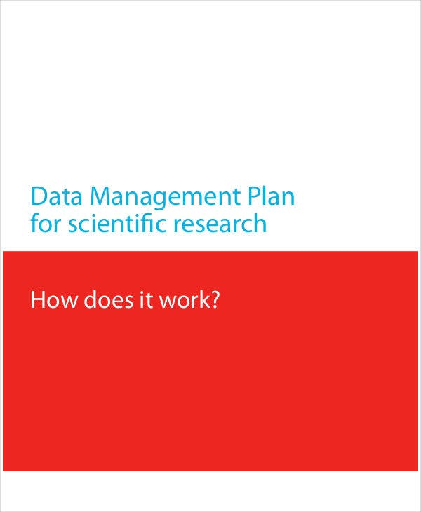 data management plan for scientific research