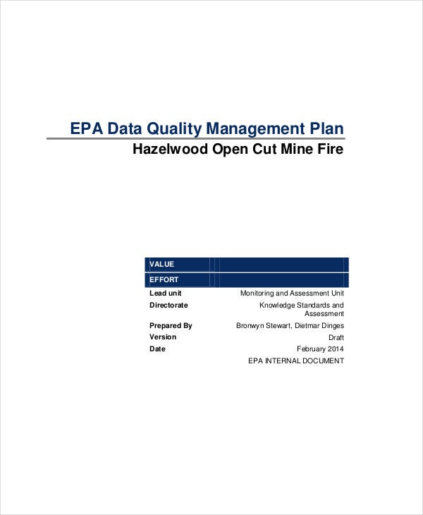 data quality management plan