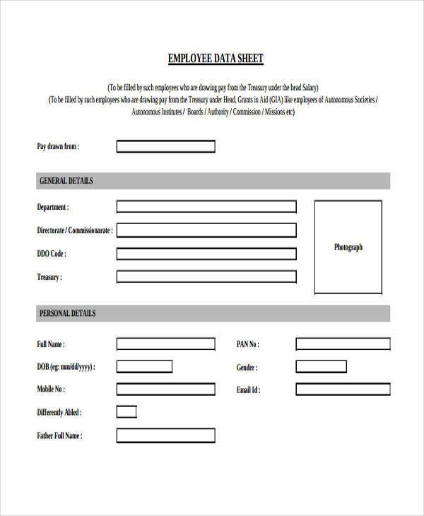 data sheet of employee