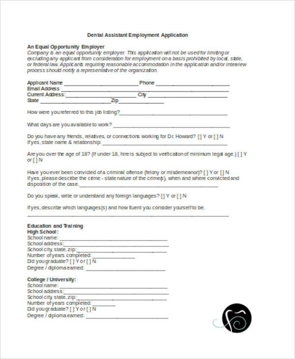 dental assistant employment application
