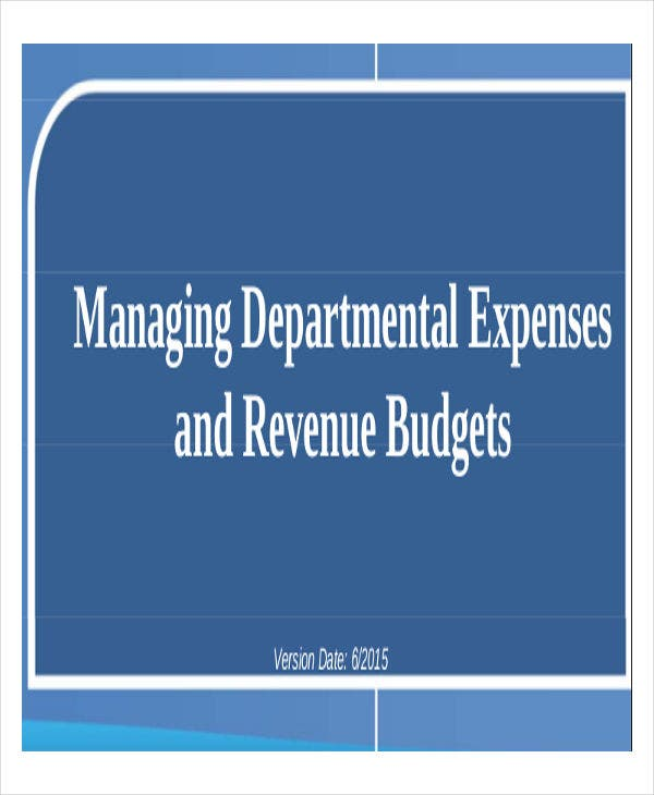 department expense budget