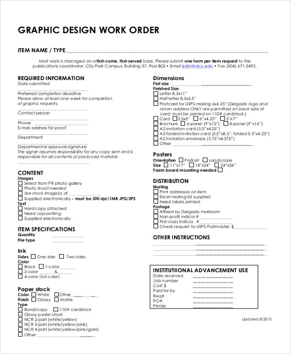 Work Order Forms  Free Samples Examples Format Download