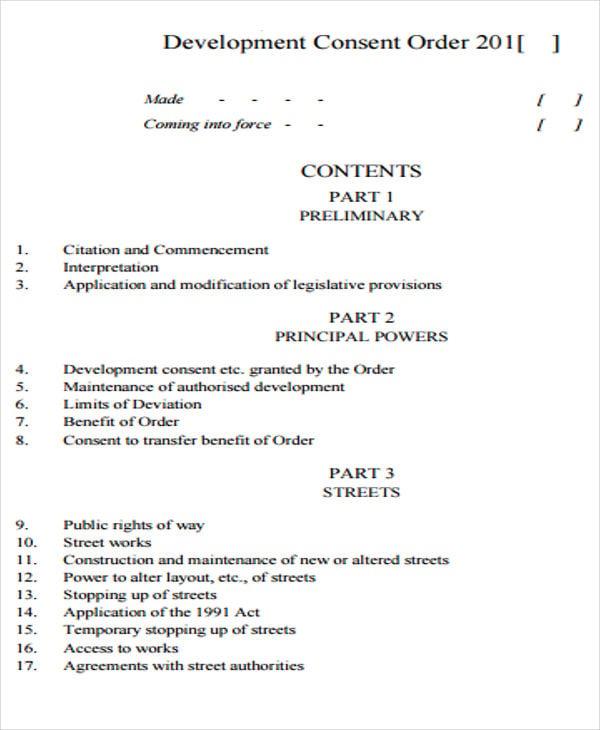 development consent order