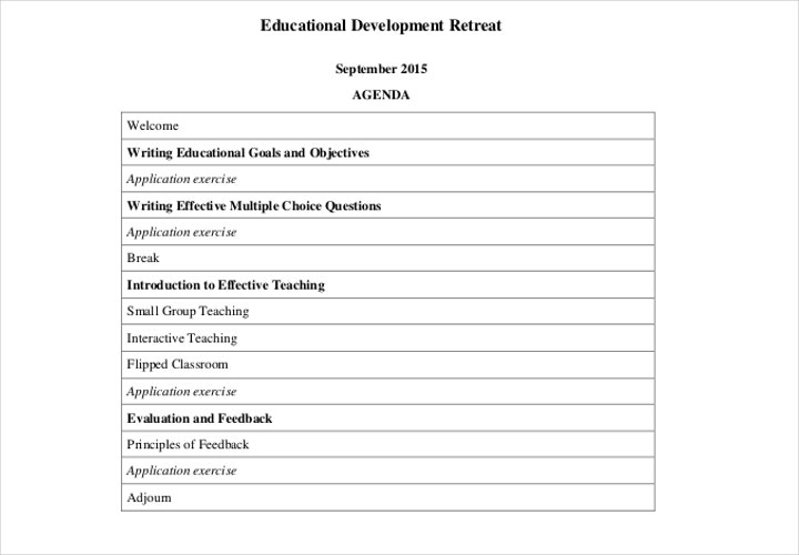 development retreat agenda