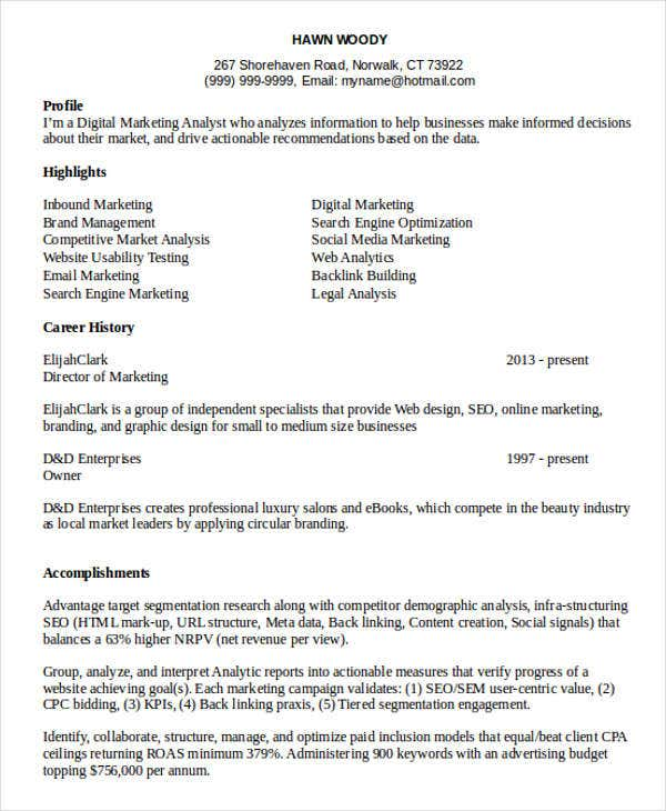 40 Basic Marketing Resume