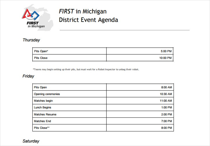 district event agenda