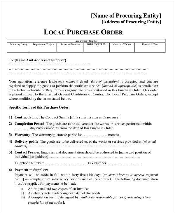 Draft Local Purchase Order
